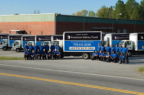 Blue uniform staff with American Kidney Fund